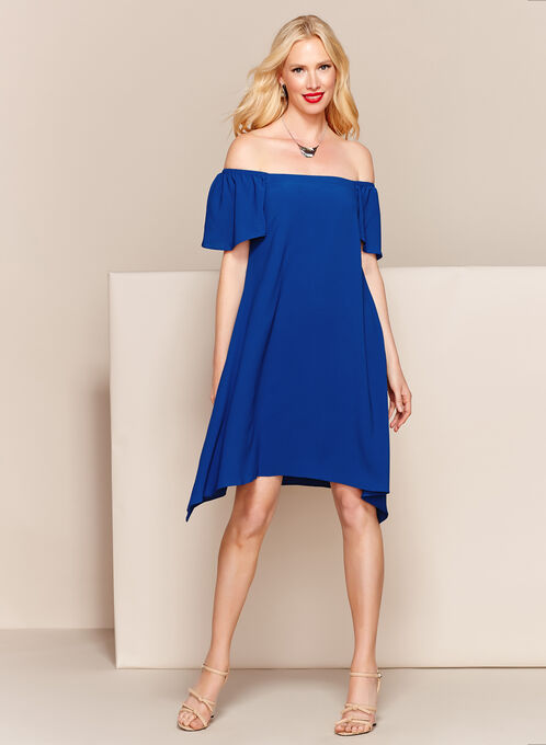 Off The Shoulder Shark Bite Hem Dress, Blue, hi-res