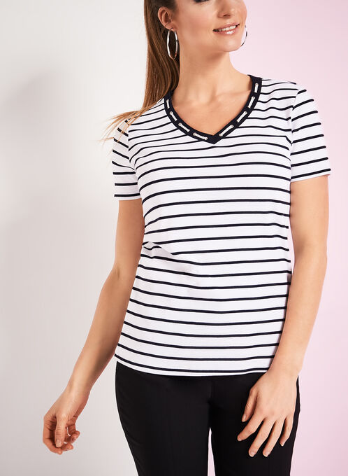 Rope Trim Stripe Print T-Shirt, White, hi-res