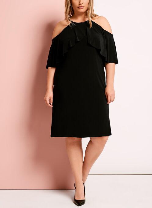 Jersey Cold Shoulder Ruffle Dress, Black, hi-res