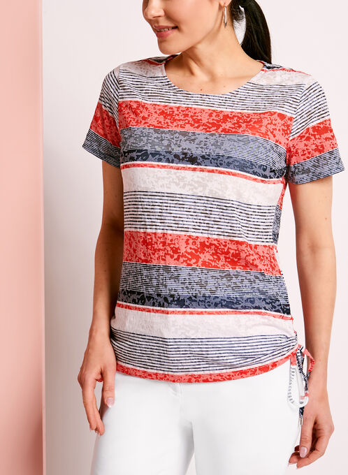 Side Tie Stripe Print T-Shirt, Blue, hi-res