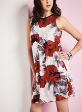 Poppy Print Trapeze Dress, White, hi-res