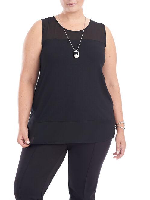 Sleeveless Mesh Detail Top, Black, hi-res