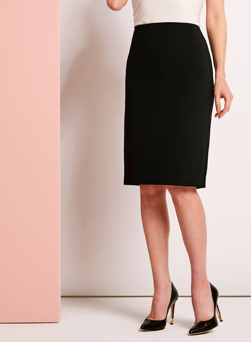 Back Slit Pencil Skirt , Black, hi-res