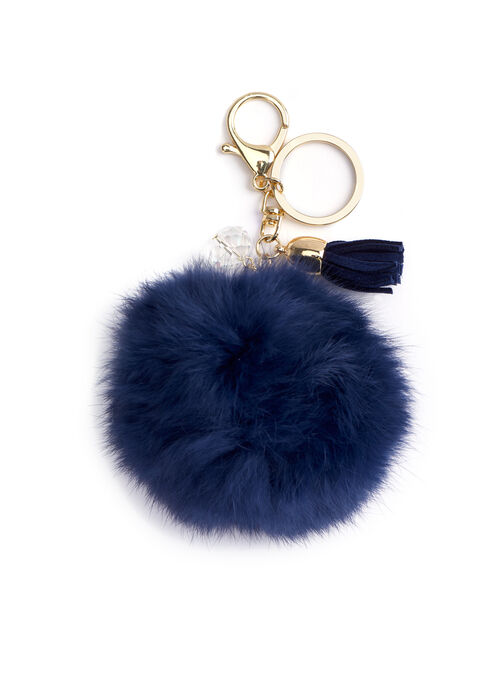 Rabbit Fur & Tassel Key Chain , Blue, hi-res