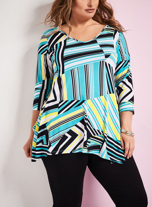3/4 Sleeve Graphic Print Tunic, Blue, hi-res