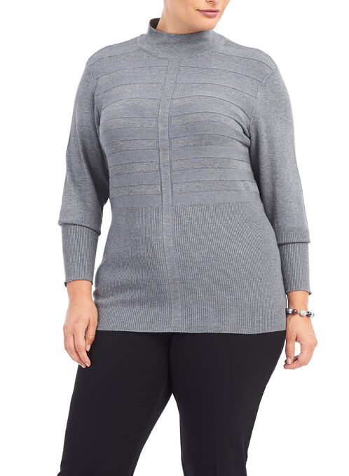 Ribbed Mock Neck Sweater, Grey, hi-res