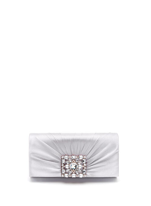 Crystal Crest Metallic Clutch, Silver, hi-res