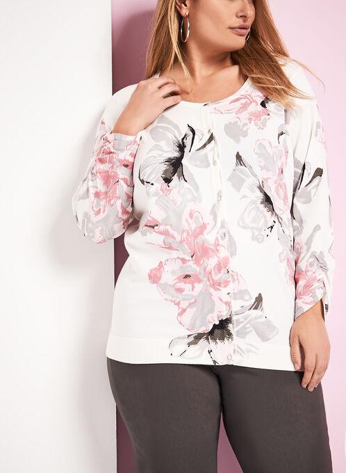 Shirred Floral Print Knit Cardigan, White, hi-res