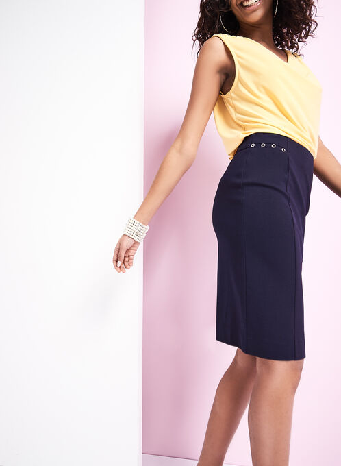 Grommet Detail Straight Skirt, Blue, hi-res