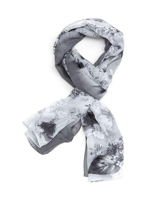 Foulard rectangulaire à fleurs, Gris, hi-res