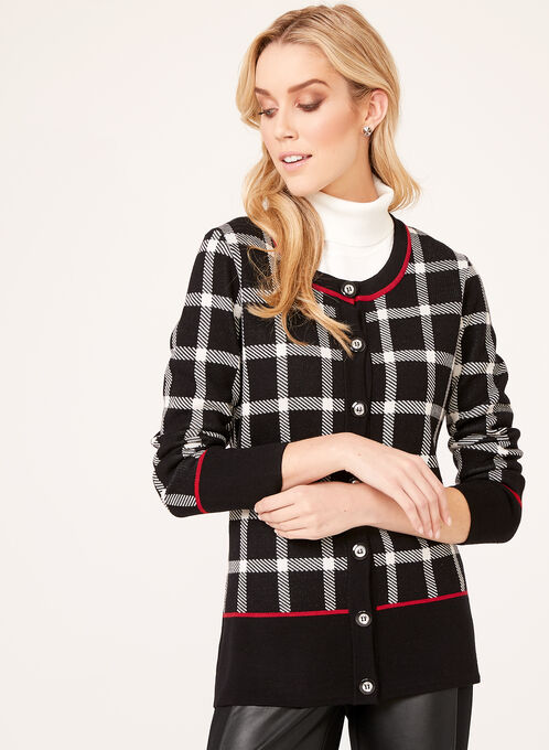 Plaid Print Double Knit Cardigan, Black, hi-res
