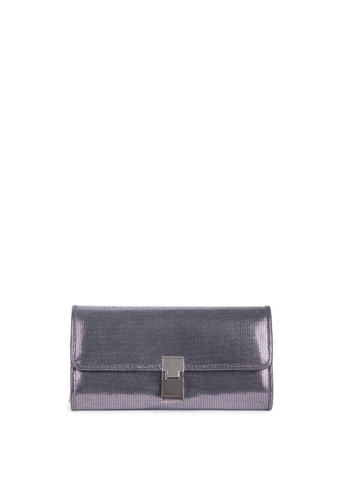 Metallic Flap Clutch , Grey, hi-res