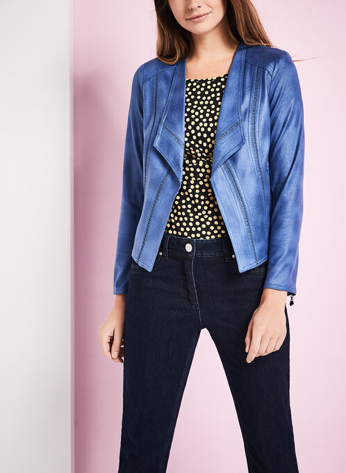 Vex Faux Suede Jacket , Blue, hi-res