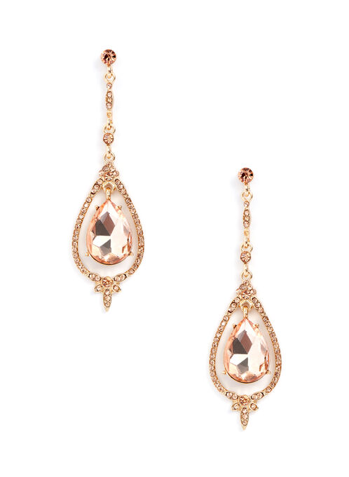 Teardrop Dangle Earrings , Pink, hi-res