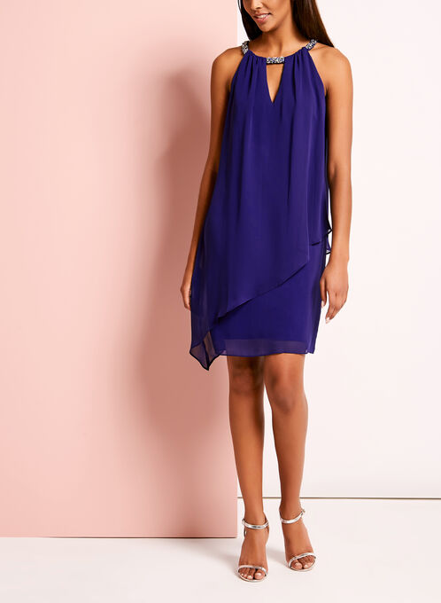 Drape Front Embellished Keyhole Dress, Blue, hi-res