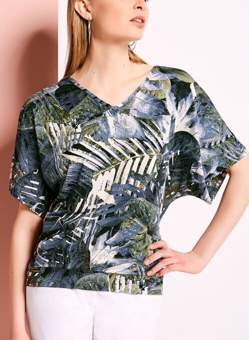 Abstract Palm Print Top, Green, hi-res