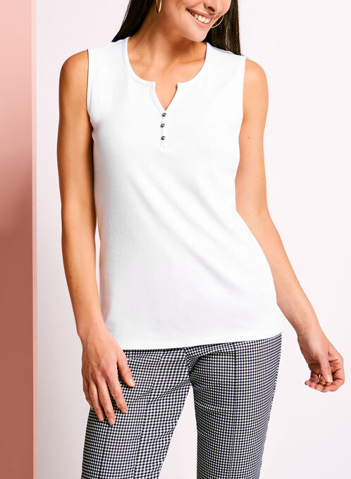 Sleeveless Henley Camisole, White, hi-res