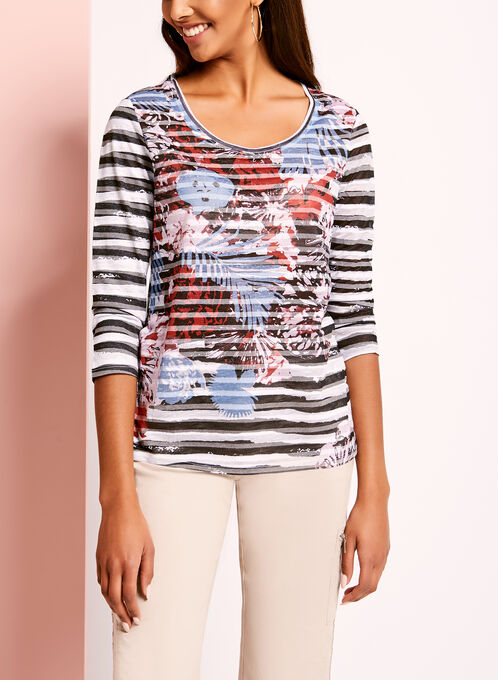 Embellished Floral & Stripe Print Top, Blue, hi-res