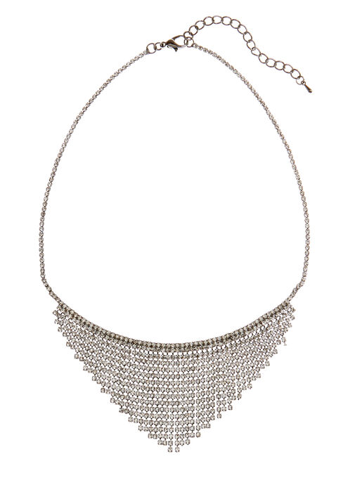 Crystal Cascade Bib Necklace, Silver, hi-res