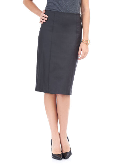 Faux Leather Pencil Skirt , Black, hi-res