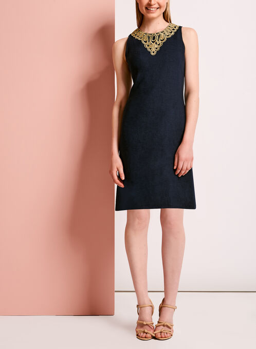 Crochet Lace Trim A-Line Linen Dress, Blue, hi-res