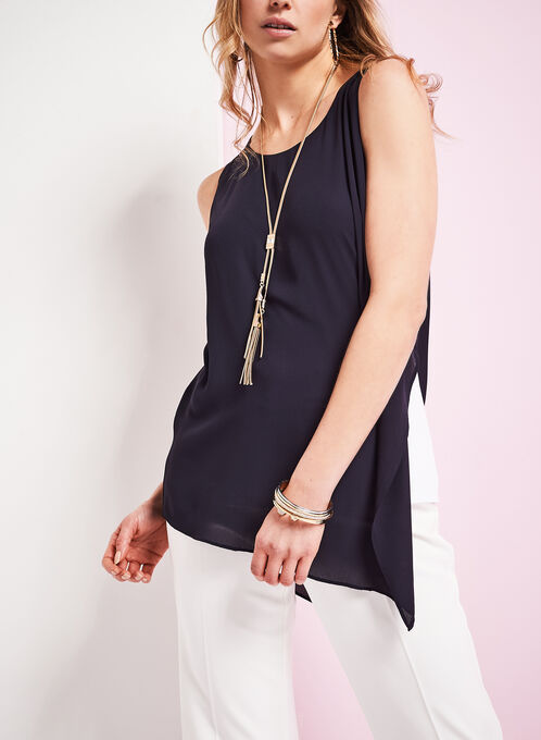 Sleeveless Asymmetric Popover Blouse, Blue, hi-res
