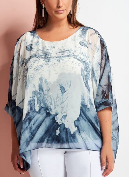 3/4 Sleeve Aquarelle Print Poncho Blouse, Blue, hi-res