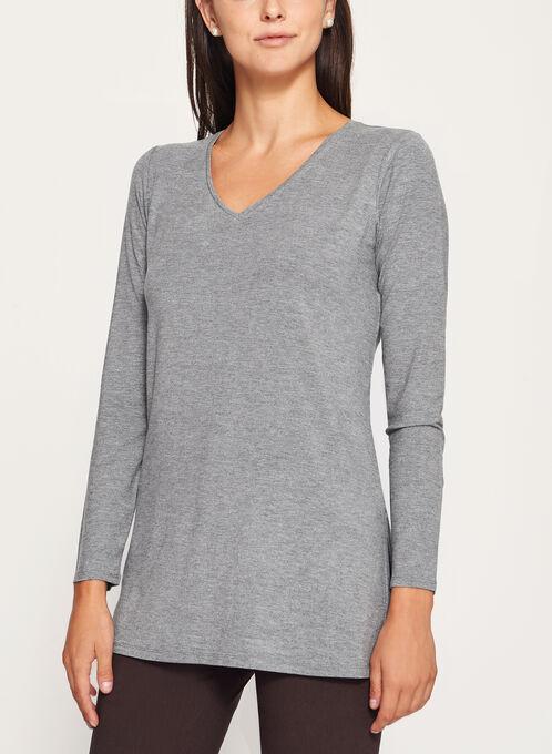 V-Neck Long Sleeve Top, Grey, hi-res