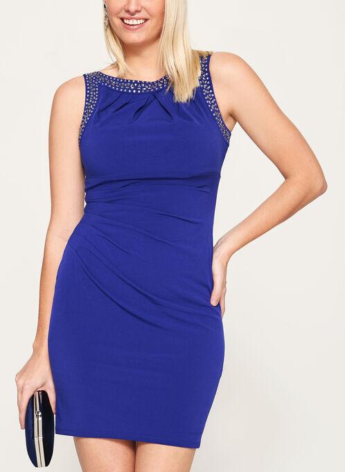 Crystal Embellished Jersey Dress, Blue, hi-res