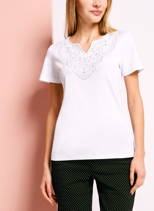 Studded Split V-Neck T-Shirt, White, hi-res