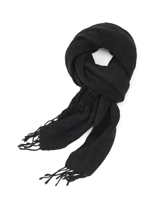 Oblong Blanket Scarf, Black, hi-res