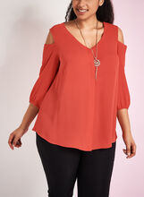 Frank Lyman Cold Shoulder Tunic with Pendant Necklace, Red, hi-res