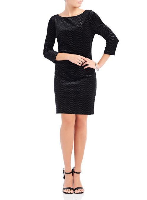 3/4 Sleeve Velvet Glitter Dress, Black, hi-res