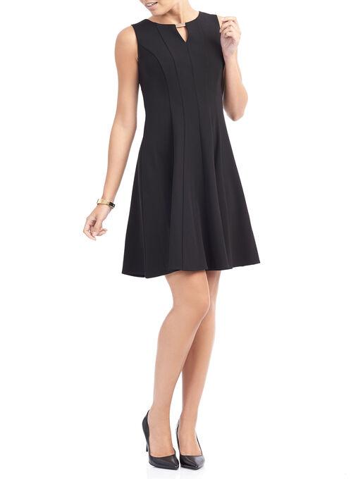 Sleeveless Crêpe Fit & Flare Dress, Black, hi-res