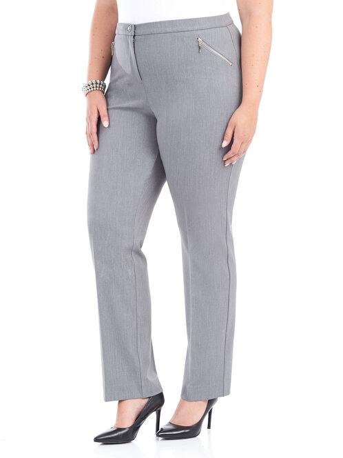 Tummy Control Straight Leg Pants, Grey, hi-res
