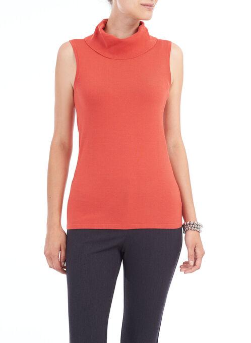 Sleeveless Knit Turtleneck, Orange, hi-res