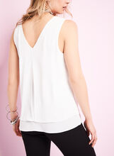 V-Neck Double Layer Blouse, Off White, hi-res