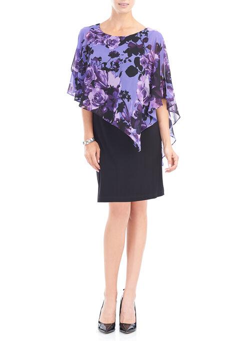 Chiffon Floral Print Poncho Dress, Purple, hi-res