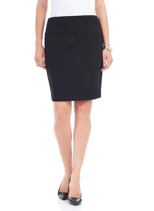Short Tummy Control Straight Skirt, Black, hi-res
