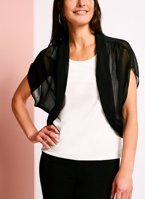 Short Sleeve Sheer Bolero, Black, hi-res