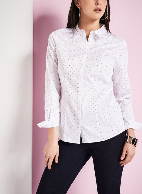 3/4 Sleeve Dot Print Blouse, White, hi-res