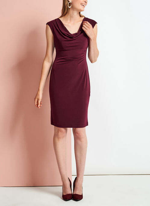 Cowl Neck Side Tuck Jersey Dress, Red, hi-res
