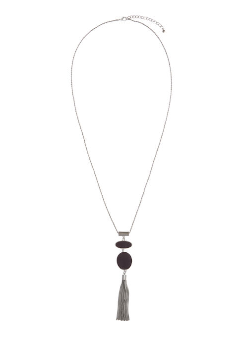 Two-Tone Tiered Tassel Necklace, Purple, hi-res