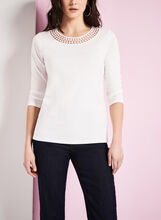 Cotton & Crochet Trim T-Shirt, , hi-res
