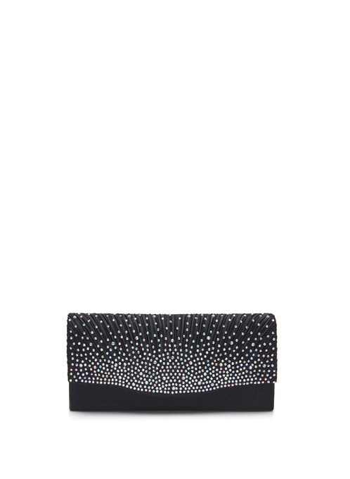 Jewelled Satin Clutch, Black, hi-res