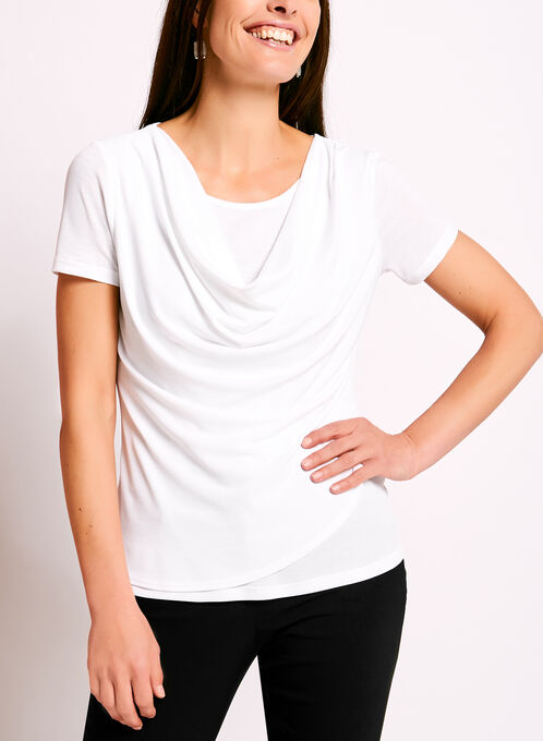 Double Layer Drape Neck Knit Top, White, hi-res