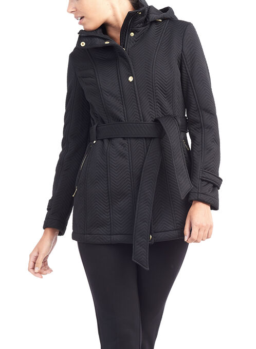 Chevron Detachable Hood Jacket, Black, hi-res
