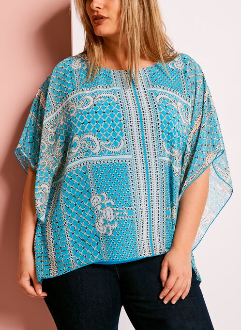 Graphic Print Poncho Blouse, Blue, hi-res