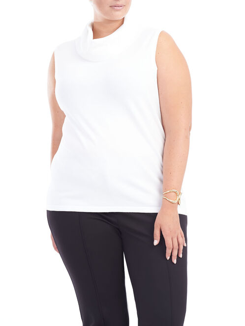 Sleeveless Turtleneck Knit Top , Off White, hi-res