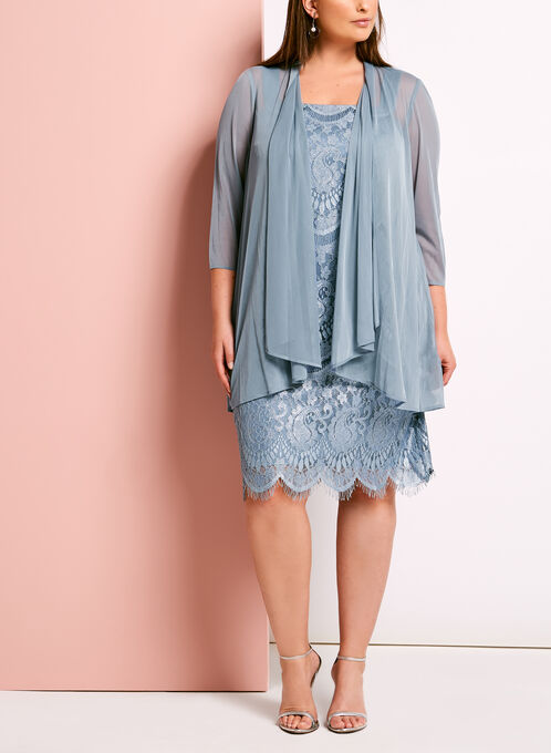 Lace Satin Dress with Mesh Bolero, Grey, hi-res